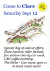 Come to Clare on Saturday 12th September